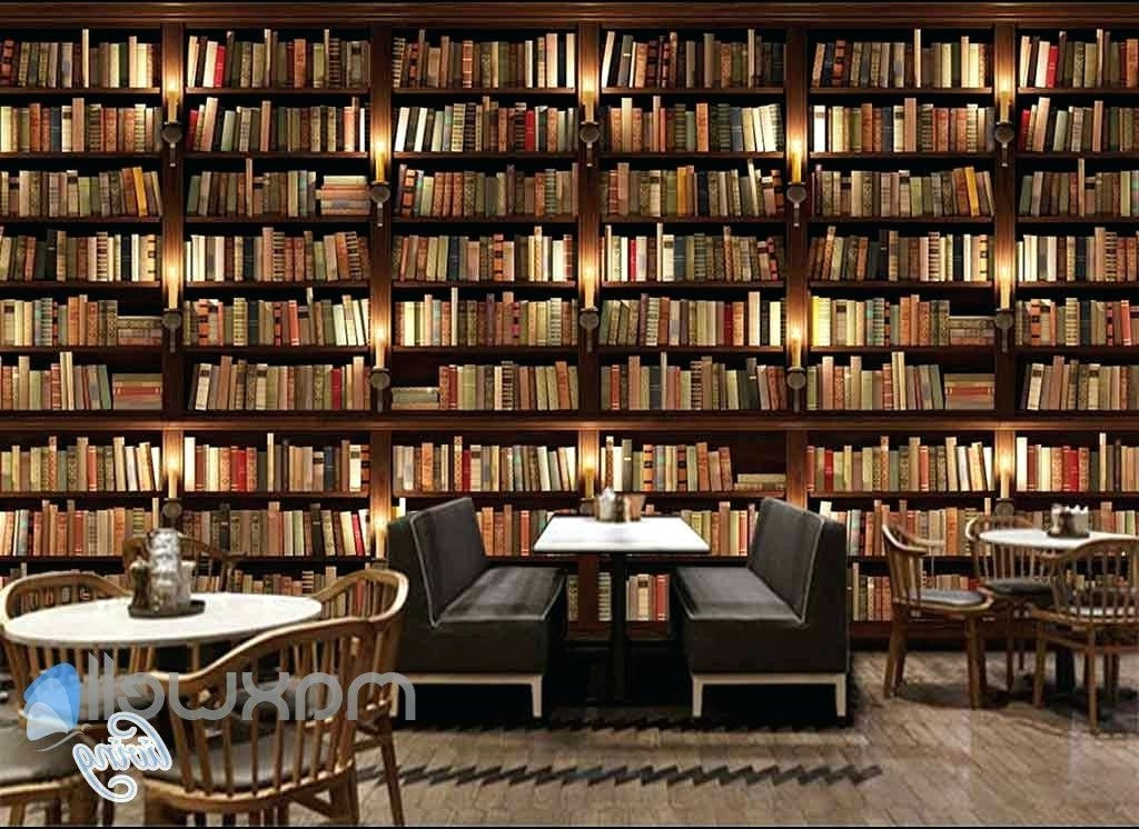 Bookcase ~ Bookshelf Wall Mural Bookcase Wall Mural 3D Huge In Widely Used Huge Bookshelves (View 1 of 15)