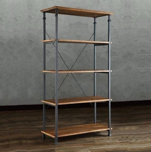 Bookcase: Industrial Wood Bookcase (View 2 of 15)