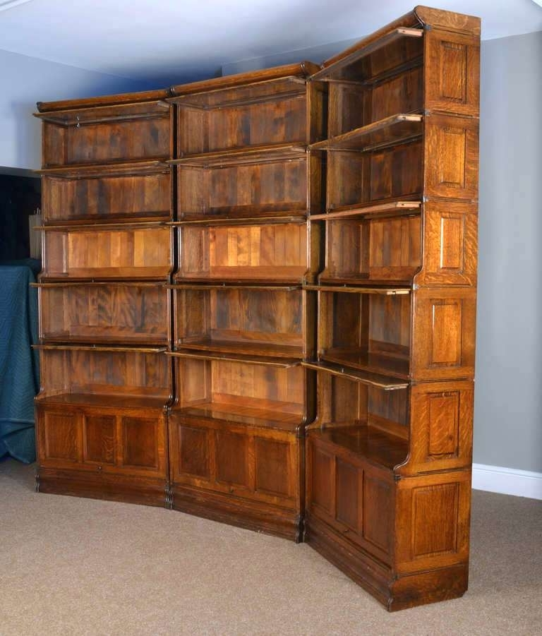 Bookcase ~ Oak Barrister Bookcase For Sale Three Large Oak With Regard To Most Recent Lawyers Bookcases (View 1 of 15)