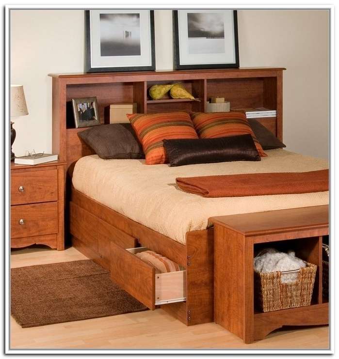 Bookcases Ideas: Platform Storage Bed Bookcase Headboard Cherry With Most Recently Released Queen Size Bookcases Headboard (View 7 of 15)