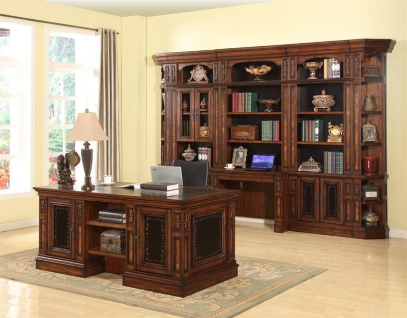 Bookcases Library Wall Unit For Well Known 7 Piece Home Office Set In Antique Vintage Dark Chestnut Finish (View 15 of 15)