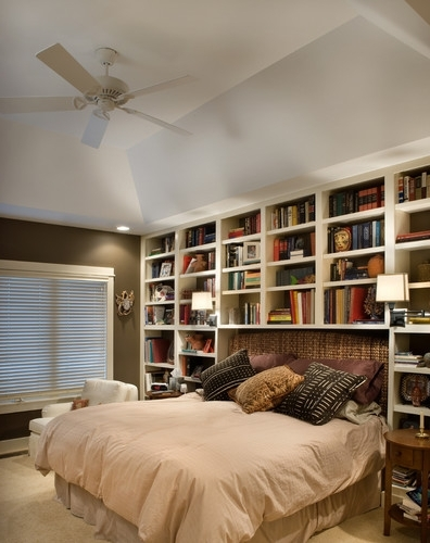 Bookcases/shelves Surrounding A Bed With An Upholstered Headboard Within 2018 Bookcases Headboard (View 6 of 15)