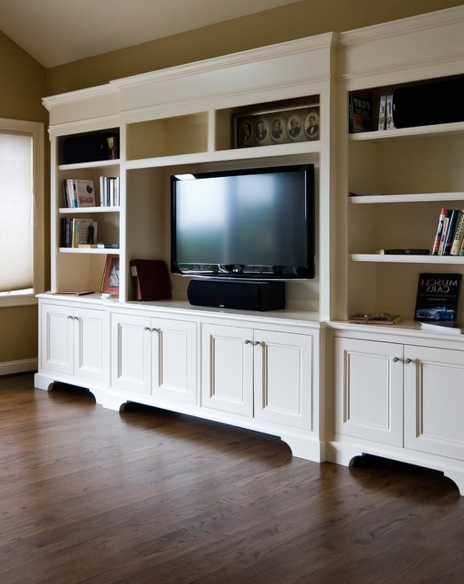 Bookcases Tv With Regard To Fashionable White Tv Cabinet/ Bookshelf – Traditional – Family Room (View 11 of 15)