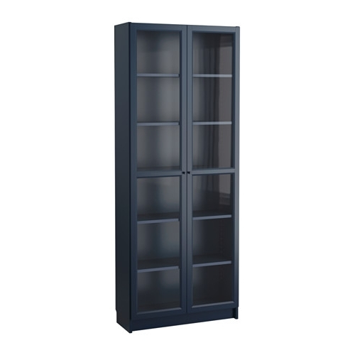 Bookcases With Glass Doors Inside 2017 Billy Bookcase With Glass Doors – Dark Blue – Ikea (View 3 of 15)