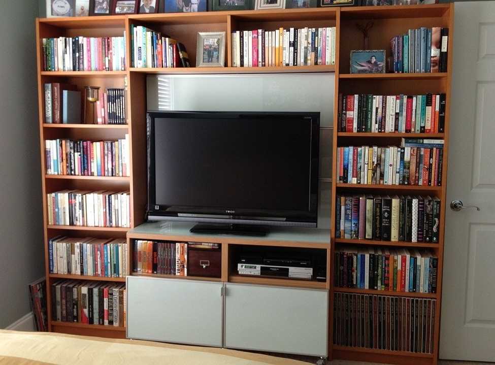 Bookcases With Tv Stand Inside Well Liked Billy Library To Entertainment Center – Ikea Hackers (View 4 of 15)