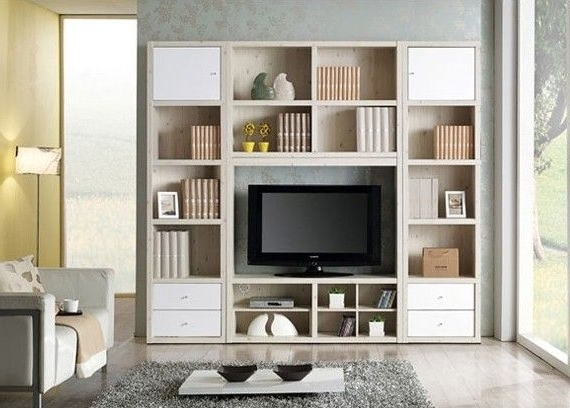 Bookcases With Tv Unit Throughout Widely Used Wall Units: Astounding Tv Cabinet And Bookcase Corner Tv Stand And (View 12 of 15)