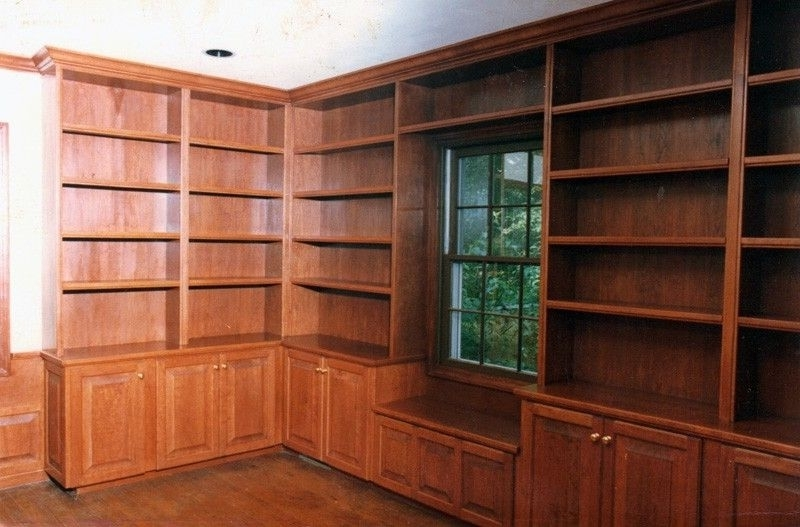 Bookshelves With Cabinet Base Throughout Well Liked Handmade Cherry Bookshelves And Base Cabinetspryor Craftsmen (View 10 of 15)