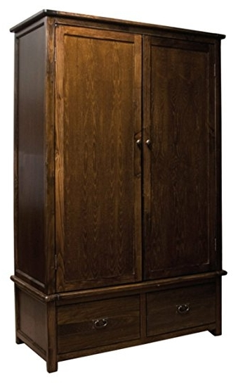 Boston Solid Pine Dark Wood Large Double Wardrobe With 2 Drawers Pertaining To Well Liked Dark Wood Wardrobes (View 1 of 15)