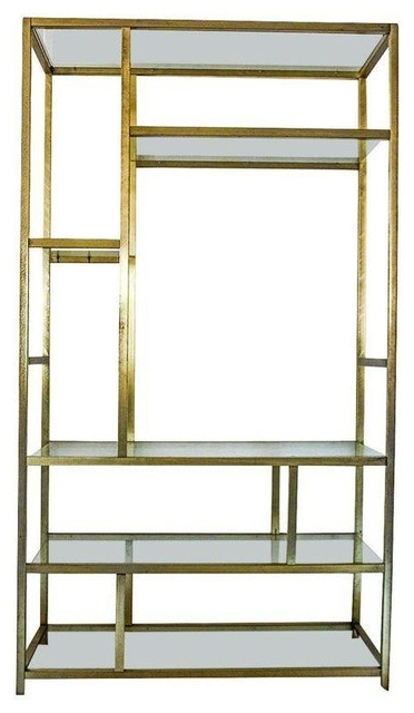 Brass Bookcases Inside Fashionable Milo Baughman Style Brass Etagere Shelving Unit – View In Your (View 3 of 15)