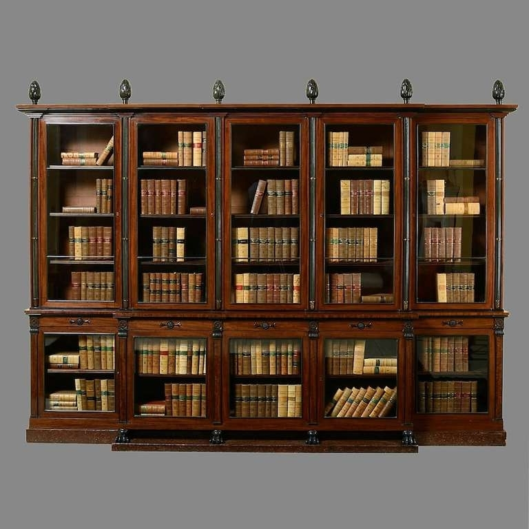Break Front Bookcases Throughout Current Regency Mahogany Breakfront Bookcase At 1stdibs (View 6 of 15)