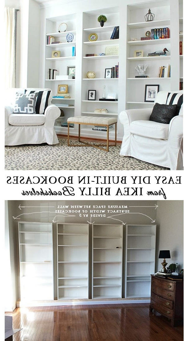 Build Built In Bookcases Regarding Widely Used How To Build Diy Built In Bookcases From Ikea Billy Bookshelves (View 3 of 15)