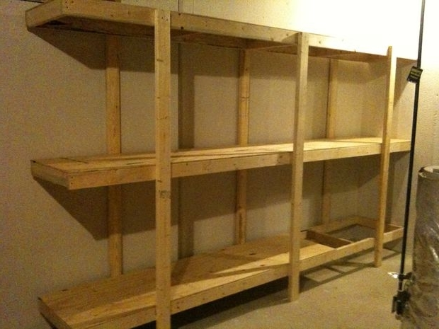 Build Easy Free Standing Shelving Unit For Basement Or Garage: 7 For Newest Free Standing Shelving Units Wood (View 1 of 15)