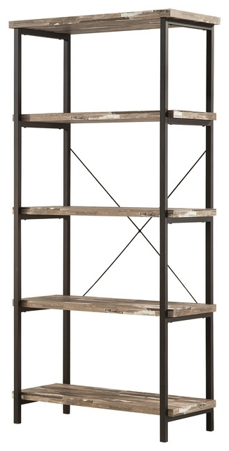 Coaster – Coaster Bookcase In Salvaged Cabin/black Finish 801552 In Well Liked Coaster Bookcases (View 8 of 15)