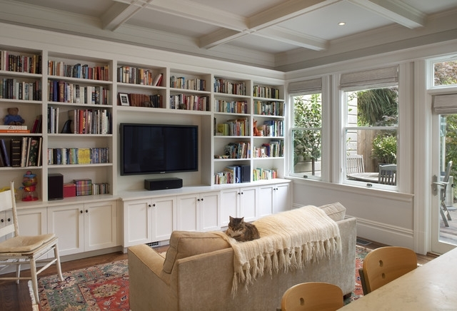 Cole Valley Residence – Family Room – Traditional – Family Room Inside Well Liked Built In Bookshelves With Tv (View 4 of 15)