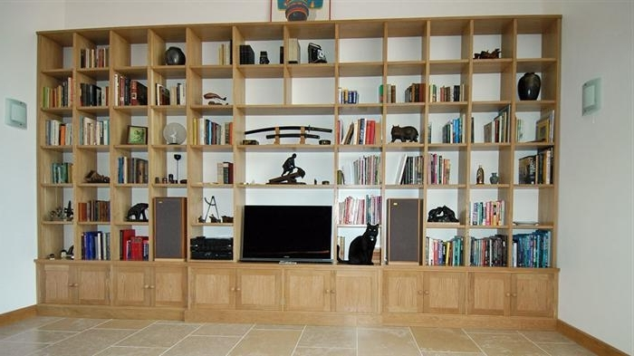 Contemporary Oak Bookcases Pertaining To Well Known Tv And Family Room (View 8 of 15)