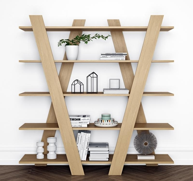 Contemporary Oak Shelving Unit With A Diagonal Geometric Design For Favorite Contemporary Oak Shelving Units (View 14 of 15)