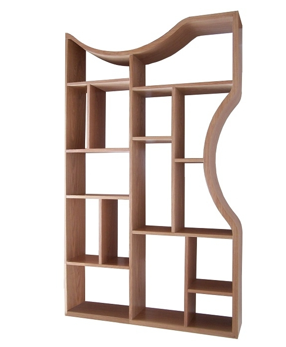 Contemporary Oak Shelving Units Inside Best And Newest Wooden Shelving Unit With Curved Sides (View 5 of 15)