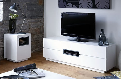 Contemporary White Tv /media Unit – Low Inside Most Current Low Media Unit (View 4 of 15)