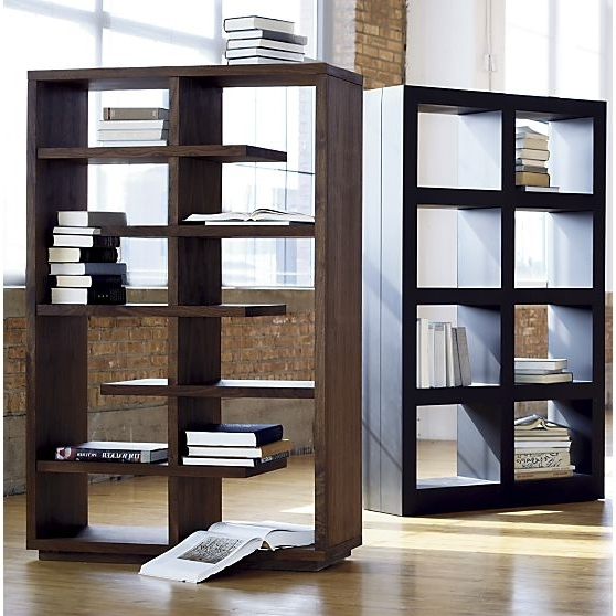 "Crate And Barrel Bookcases Regarding Fashionable Elevate Walnut 68"" Bookcase In Bookcases, Shelves (View 7 of 15)"