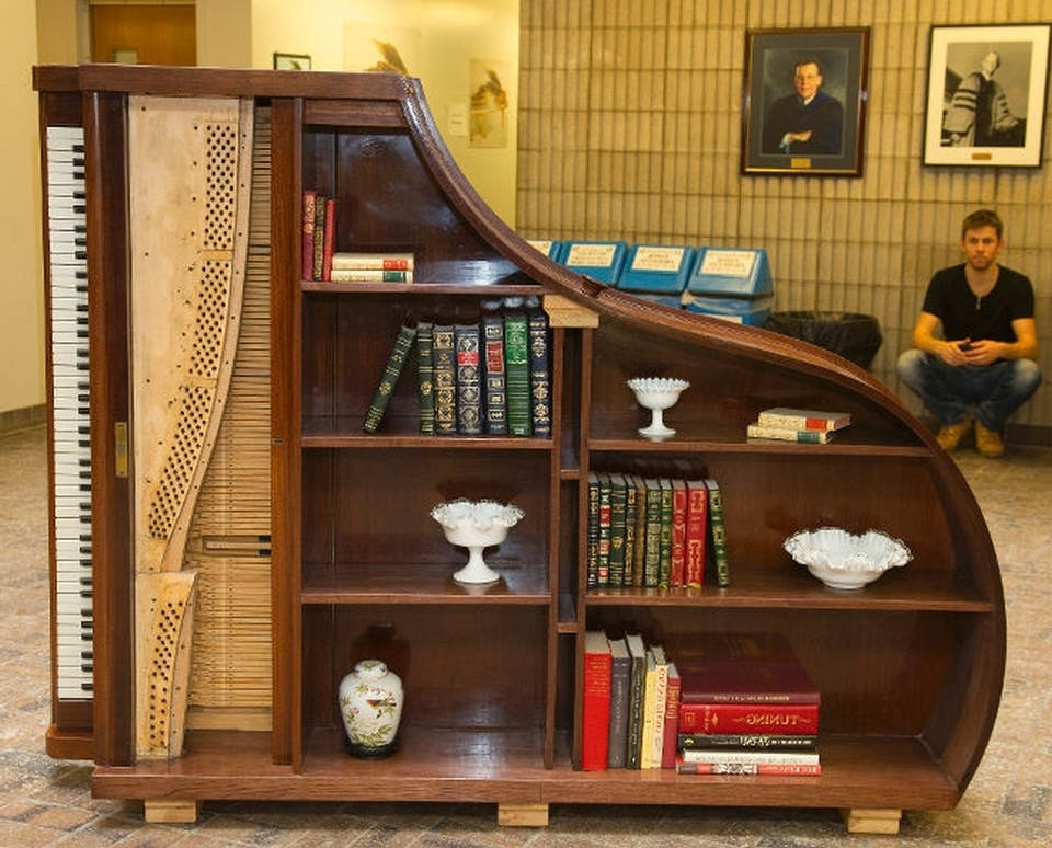Creative Ways To Repurpose Old Piano Into Something New And Exciting Inside 2017 Repurpose Bookcases (View 4 of 15)