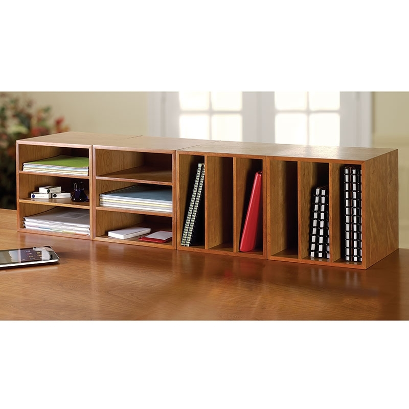 Cubi Desk Bookcase – Wood Bookcase, Stackable Storage – Levenger Intended For Preferred Desktop Bookcases (View 6 of 15)