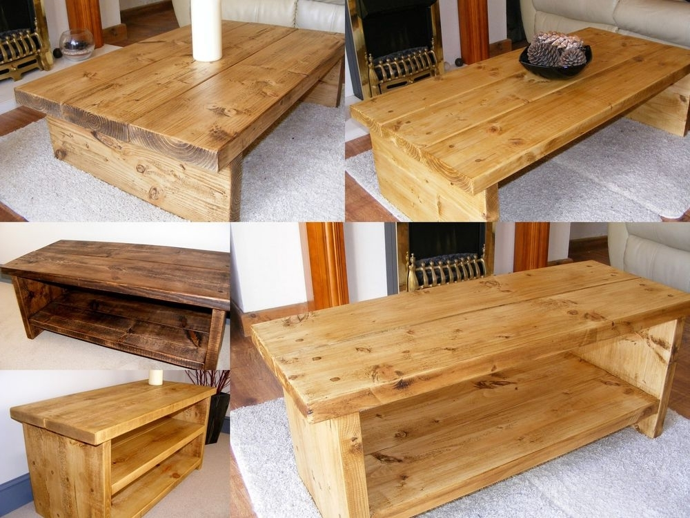 Current Diverting Rustic Chunky Coffee Table Tv And Rustic Tv Stand Ebay Intended For Handmade Tv Unit (View 1 of 15)
