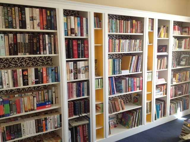 Current Dvd Bookcases Within Built In Billy Bookcases From Ikea Backs Covered In Fabric Benno (View 6 of 15)