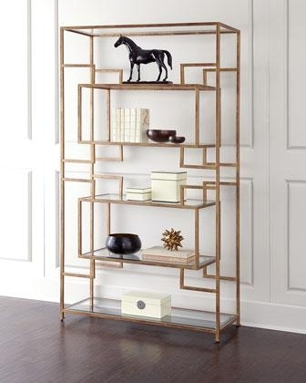 Current Gold Bookcases For Storage Furniture – Renaldi Etagere I Horchow – Modern Gold (View 5 of 15)