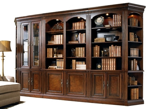 Current Library Bookcases Wall Unit For Mahogany And More Library Wall Units – Old World 12 Foot Walnut (View 4 of 15)