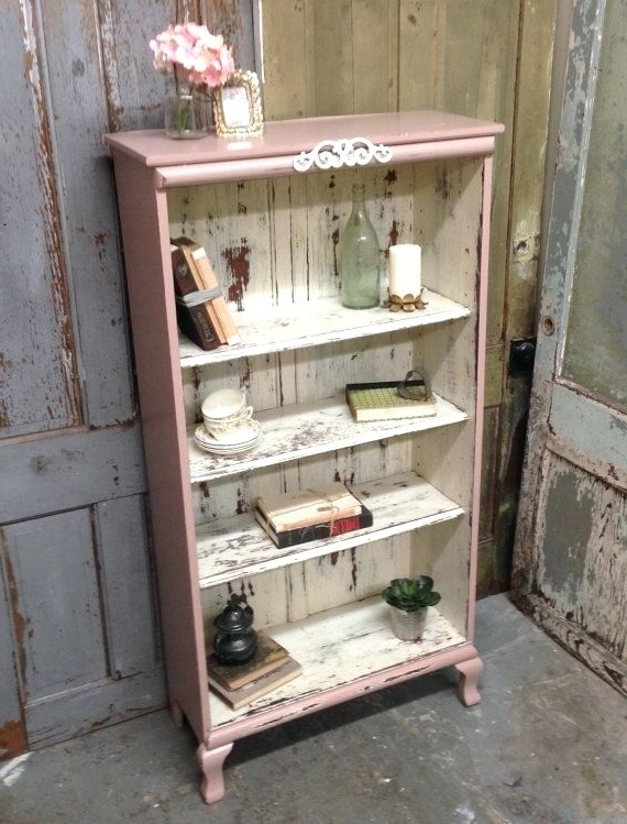 Cur Shabby Chic Bookcases Regarding Bookcase White Vintage Style Shelves View