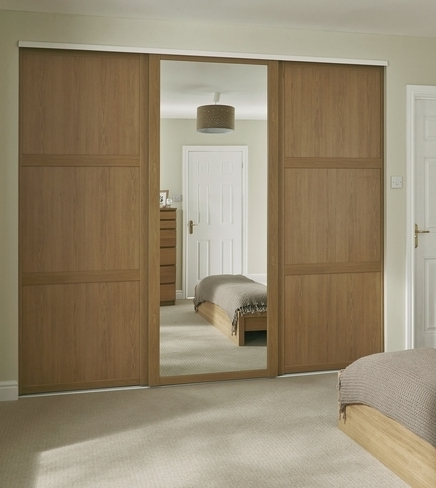 Current Solid Wood Fitted Wardrobes Doors With Regard To Oak Shaker Panel & Mirror Door (View 3 of 15)