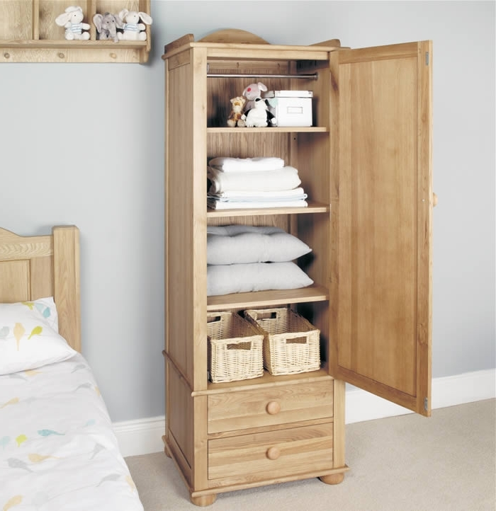Current Wardrobe With Shelves And Drawers Regarding Children's Single Wardrobe – Oak – Baumhaus Amelie (View 3 of 15)