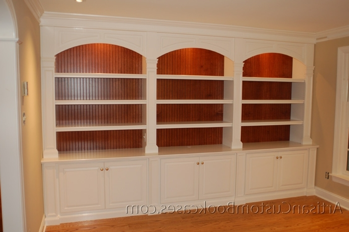 Custom Bookcases Intended For Well Liked Painted Custom Bookcase With Stained Beaded Backs – Artisan Custom (View 5 of 15)