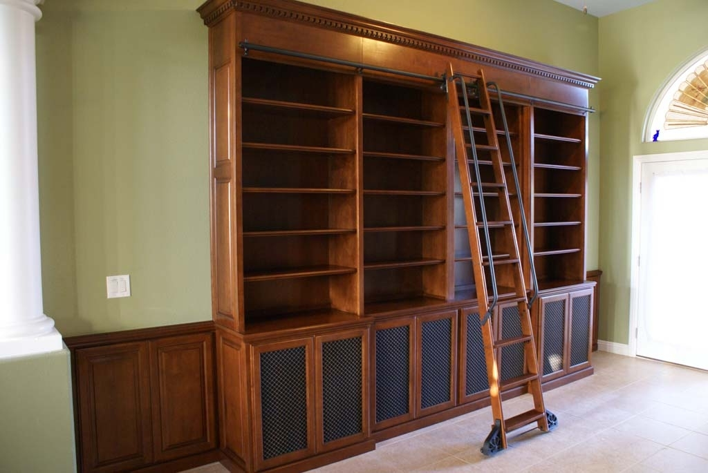 Custom Bookcases With Library Ladders • Platinum Cabinetry In Las Throughout Popular Bookcases With Ladder (View 6 of 15)
