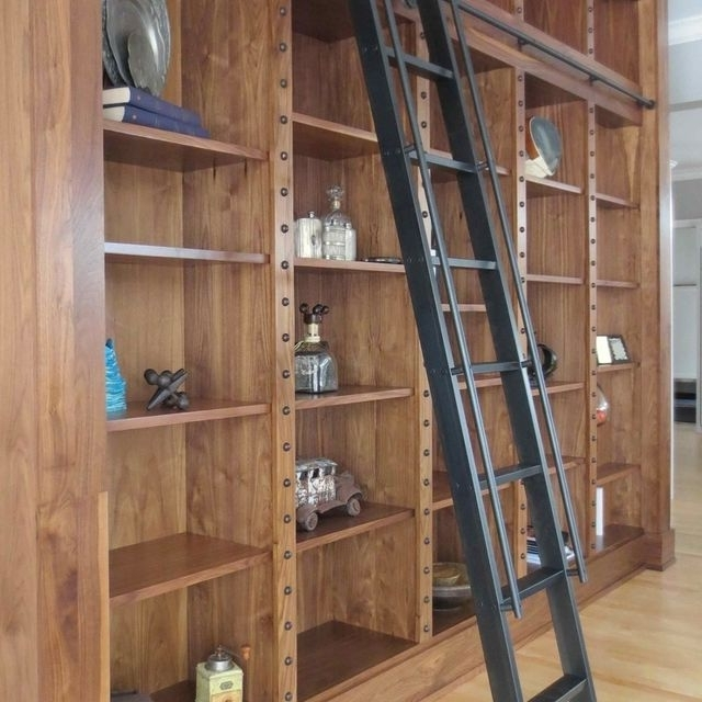 Custom Steel Rolling Library Ladderandrew Stansell Design With Pertaining To Best And Newest Library Ladder Kit (View 3 of 15)