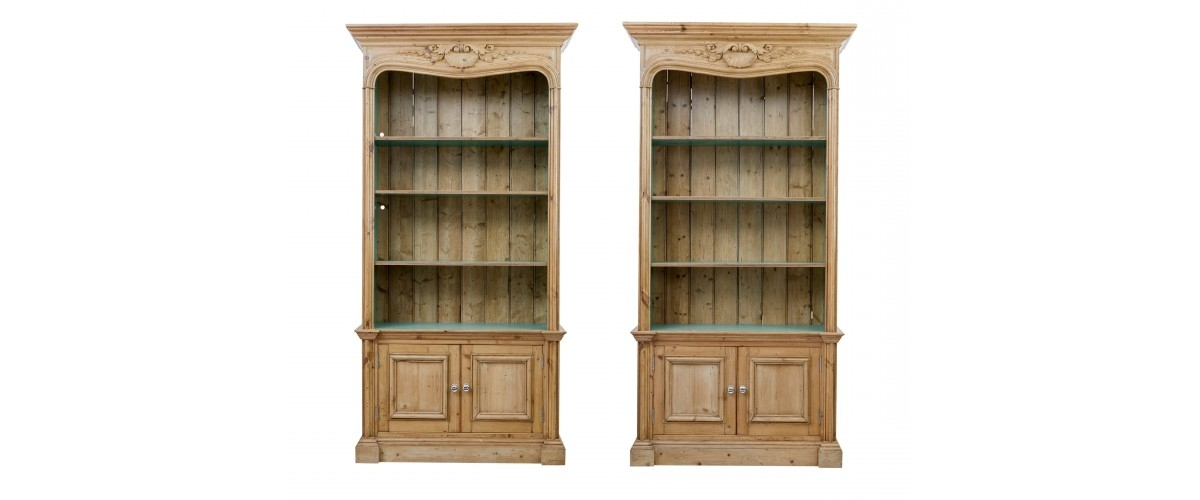 Debenham Antiques – Pair Of 1920's Carved Pine Bookcases – Uk&eu Regarding Most Current Pine Bookcases (View 1 of 15)
