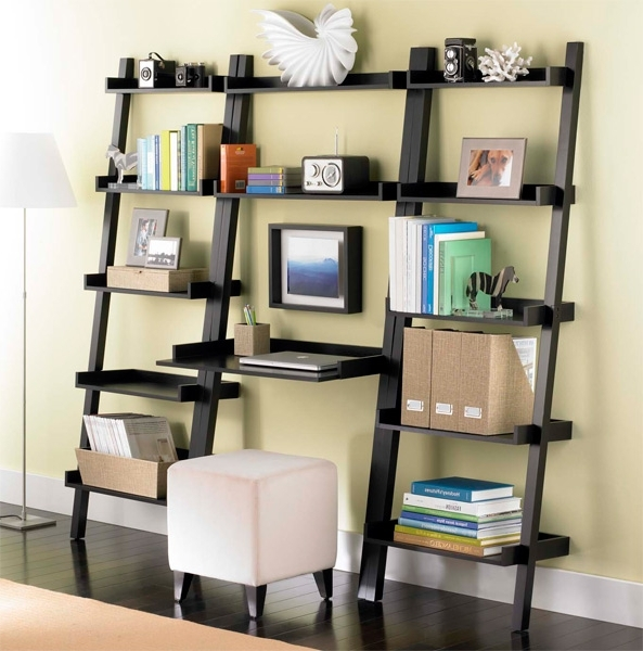 Desk Bookcases Intended For Trendy Bookcases Ideas: Computer Desk With Built In 4 Shelf Bookcase (View 7 of 15)