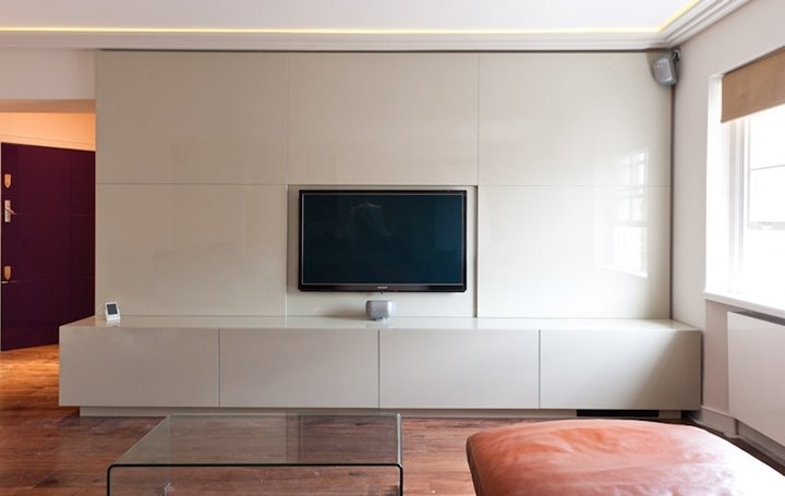 Discrete Media Centre In Cream With Integrated Plasma Screen And Within Preferred Bespoke Tv Stands (View 11 of 15)