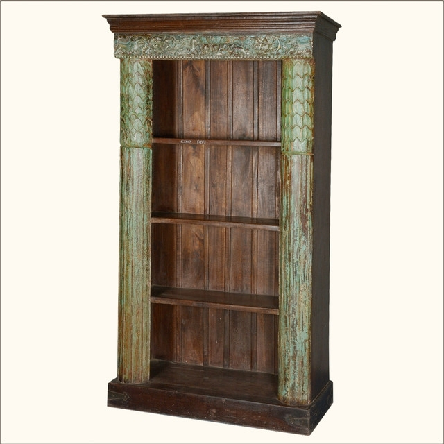 Distressed Wood Bookcases For Most Up To Date Greek Column Reclaimed Wood 4 Shelf Open Display Bookcase (View 6 of 15)