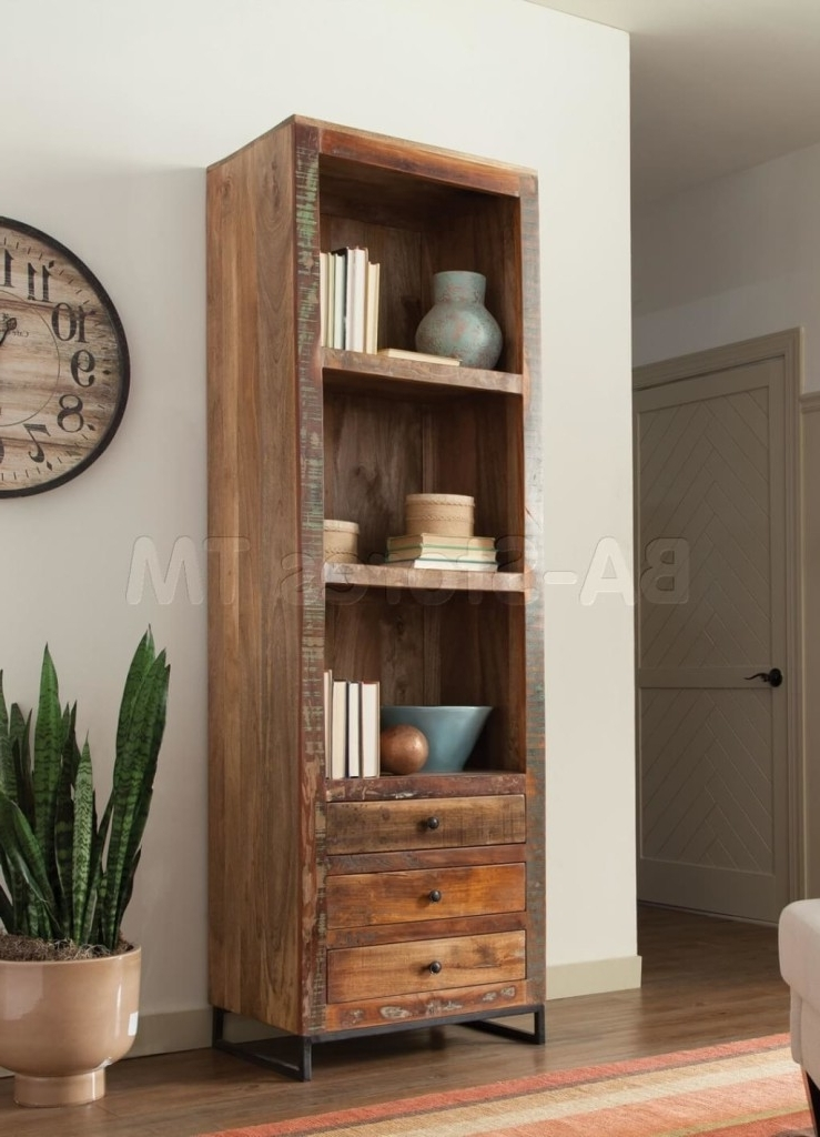 Distressed Wood Bookcases Throughout Latest Furniture: Tall Distressed Wooden Bookcase And Distressed Bookcase (View 10 of 15)