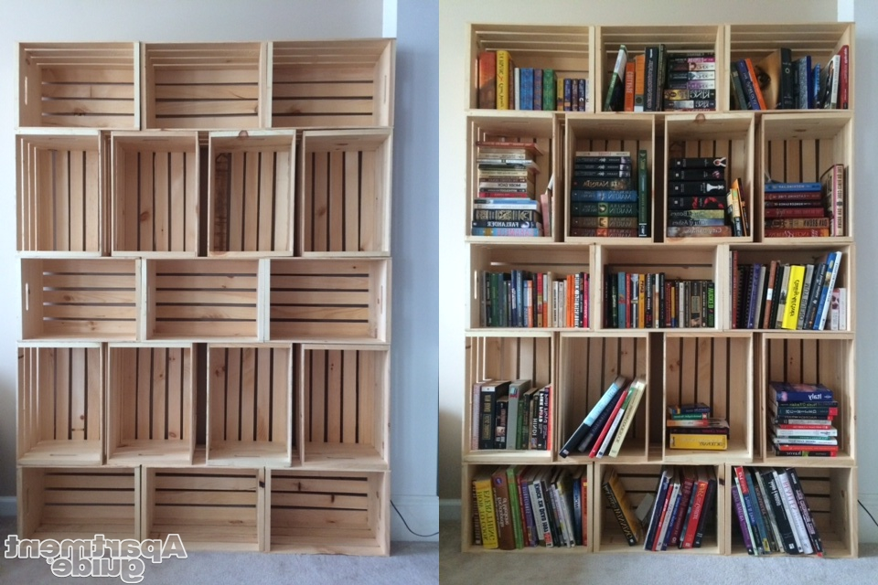 Diy Bookcases In 2017 Storage Made Simple Diy Wooden Crate Bookshelf Apartmentguide Diy (Gallery 8 of 15)