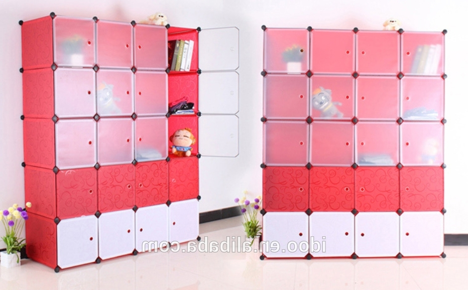 Diy Cubes Magic Pp Plastic Wardrobes Folding Kids Plastic Clothes For Trendy Mobile Wardrobes Cabinets (View 12 of 15)