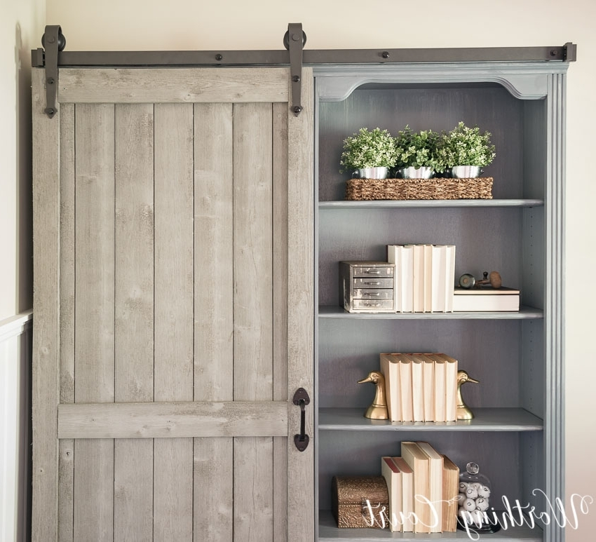 Door Bookcases Regarding Widely Used Bookcase Makeover – Traditional Cherry To Farmhouse Fab (View 9 of 15)