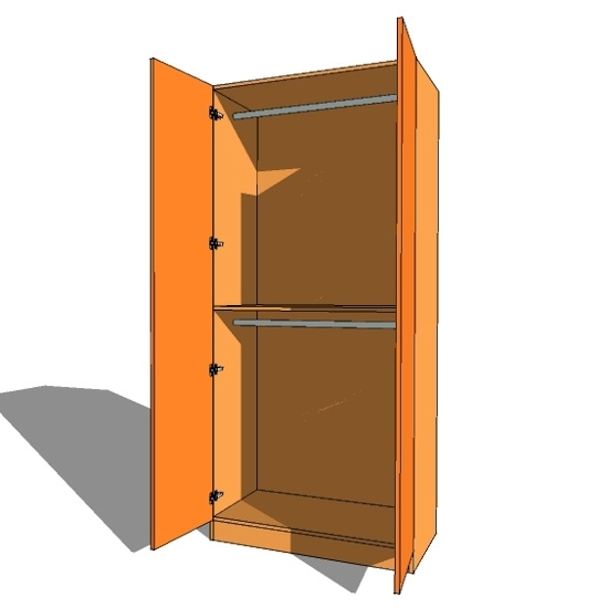 Double Door Wardrobe Double Hanging – 600Mm Deep (618Mm Inc Doors For Most Up To Date Double Rail Wardrobe (View 1 of 15)
