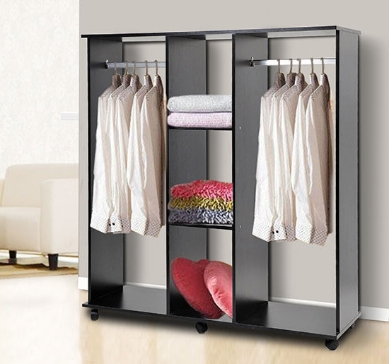 Double Rail Wardrobe Regarding Trendy Double Mobile Open Wardrobe Bedroom Storage Shelves W Clothes (View 4 of 15)