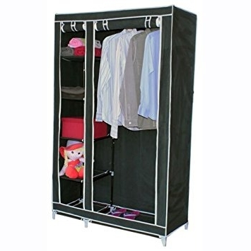 Double Rail Wardrobe With Regard To Recent Double Canvas Wardrobe W Clothes Hanging Rail & Storage Shelves (View 6 of 15)