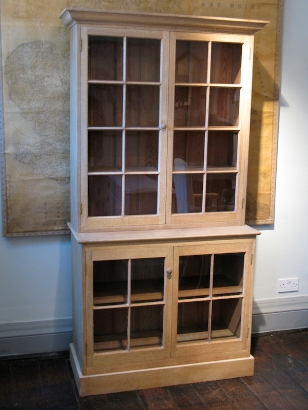 Early 20Th Cent English Bleached & Glazed Oak Bookcase – Bookcases Regarding Popular Oak Glazed Bookcases (View 6 of 15)