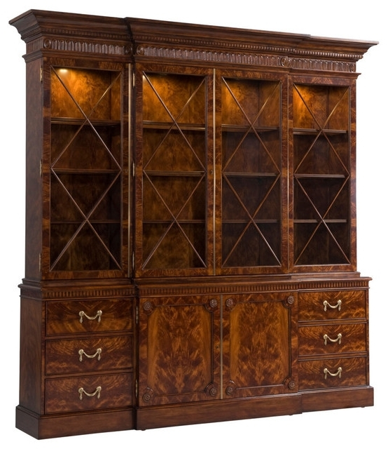 English Georgian America – George Iii Mahogany Breakfront Bookcase Throughout Newest Break Front Bookcases (View 7 of 15)