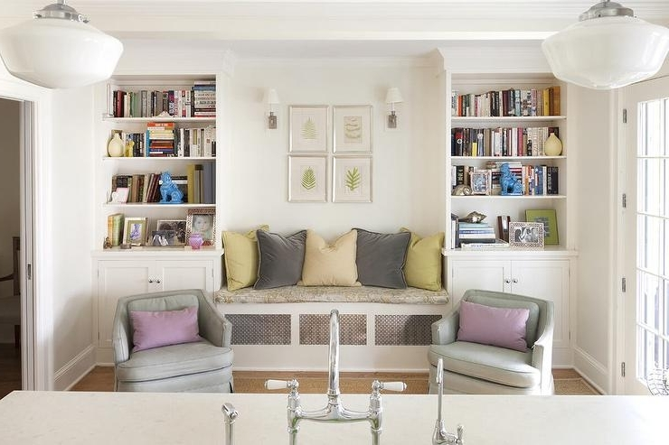 Family Room Bookcases Regarding Trendy Built In Bench Between Bookcases – Transitional – Living Room (View 15 of 15)
