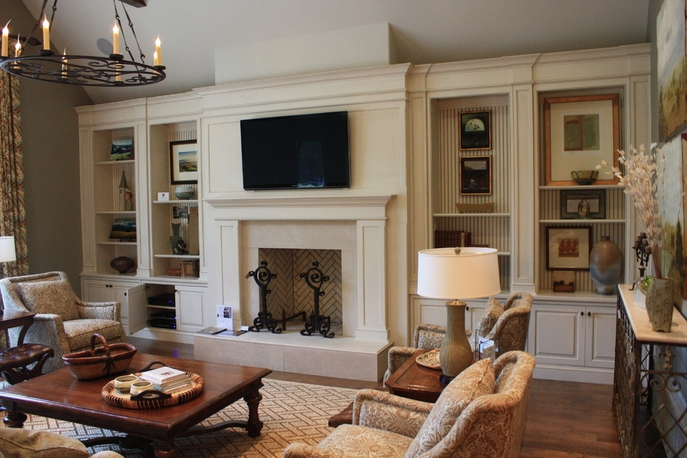 Family Room Bookcases Throughout Well Known Family Room Built With Bookcases Living Room Traditional And (View 7 of 15)